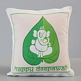 Leaf Ganesha Happy Deepavali Cushion: Diwali Gifts for Boyfriend