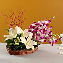 Lilies And Orchids Basket Arrangement: Lilies to Pune
