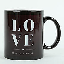 Love Ceramic Black Mug: Anniversary Gifts Indore