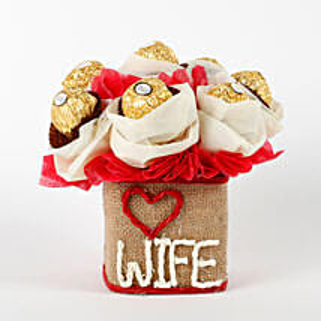 Love Wife Ferrero Rocher Chocolates Vase Arrangement: Karwa Chauth Gifts