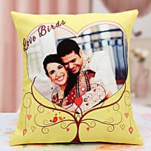 Lovebirds Personalized Cushion: Send Personalised Gifts to Satara