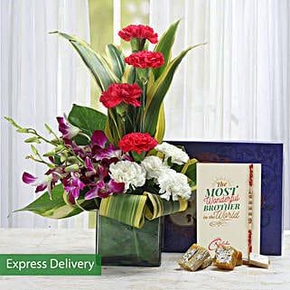 Lovely Flowers For Bro: Send Rakhi With Sweets to Aurangabad