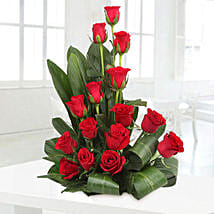 Lovely Red Roses Basket Arrangement: Romantic Flowers for Him