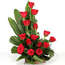 Lovely Red Roses Basket Arrangement: Valentine Flowers for Him