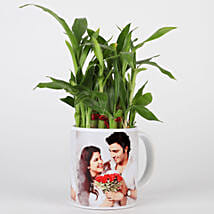 Lucky Bamboo in Personalised White Mug: