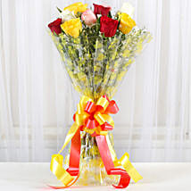 Magical Multicolored Roses Bouquet: Send Roses
