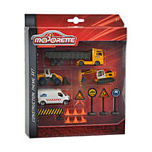 Majorette Construction Theme Set with Cool Dude Smiley: Cars for Kids