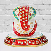 Marble Ganesha On A Chowki: Send Handicraft Gifts for Him