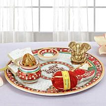 Marble Pooja Thali: Send Bhai Dooj Gifts to Srinagar