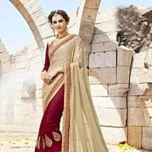 Maroon and Beige Embroidered Saree: Karwa Chauth Gifts Jalandhar