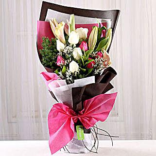 Mesmerizing Roses & Lilies Posy: Send Tulips