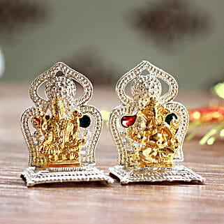 Mini Lakshmi Ganesha Idols On Two Singhasan: Laxmi Ganesh Gifts