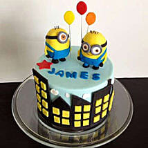Minions with balloons: Cake Delivery in Bhatapara