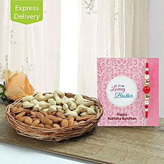 Mix Dryfruits N Rakhi: Flowers & Dry Fruits for Raksha Bandhan