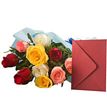 Mix Roses N Greeting Card: Send Flowers for Girlfriend