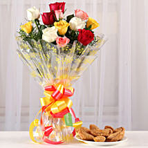Mixed Roses Bouquet With Half Kg Gujia: Send Flowers & Sweets for Holi