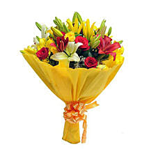 Mixed Roses N Lilies: Romantic Flowers for Husband
