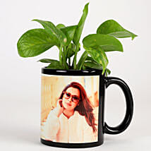 Money Plant In Personalised Mug-Black: Same Day Personalised Gifts