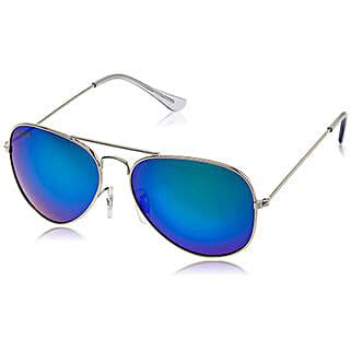 MTV Roadies Silver Blue Mirrored Unisex Aviator Sunglasses: Sunglasses for Women