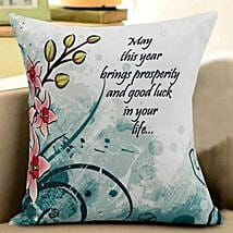 New Year Wishes Cushion: New Year Gifts for Friend
