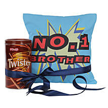 No 1 Brother Cushion With Twister: Chocolate Delivery in Bangalore