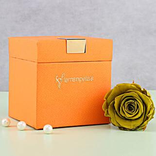 Olive Green Forever Rose in Orange Box: Send Flowers to Agartala