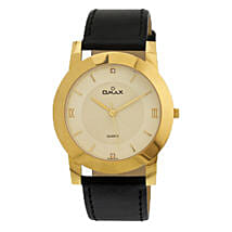 Omax Analog Golden Dial Mens Watch: Watches