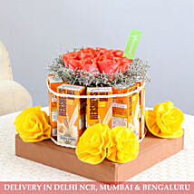Orange Roses With Hershey's Milkshake Wooden Tray: Bhai Dooj Gift Hampers