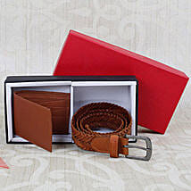 Paradigm Tan Braided Belt N Wallet Combo: Belts