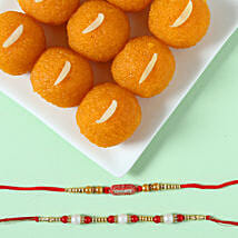 Pearl & Ethnic Rakhi With Moti Choor Laddu: Send Set of 2 Rakhi