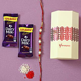 Pearl Rakhi & Dairy Milk Chocolates: Rakhi / Raksha Bandhan Gifts