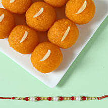 Pearl Rakhi & Moti Choor Laddu: Rakhi With Sweets Faridabad