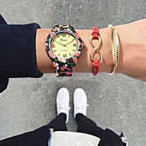 Peppy Red Bracelet Stack: Watches