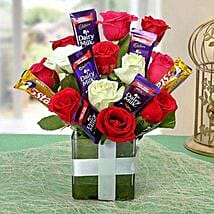 Perfect Choco Flower Arrangement: Flowers with Chocolates