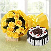 Yellow Roses Bouquet & Black Forest Cake: Gifts to Pollachi