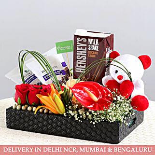 Perfect Gift Hamper- Exotic Flowers & Goodies: Send Karwa Chauth Gift Hampers