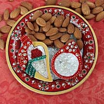 Perfect Marble Pooja Thali: Send Bhai Dooj Gifts to Srinagar