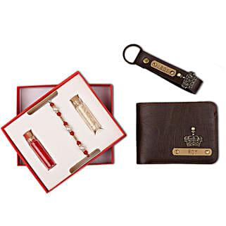 Personalised Brown Wallet & Keychain With Rakhi: