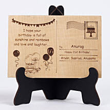 Personalised Engraved Wooden Birthday Postcard: Personalised Engraved