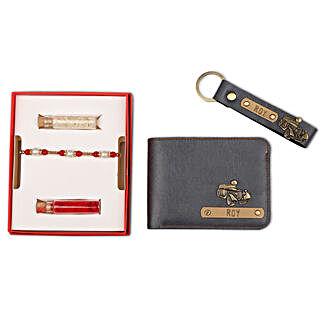 Personalised Grey Wallet & Keychain With Rakhi: