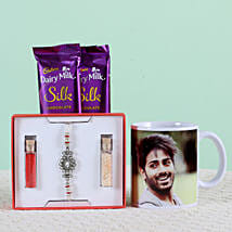Personalised Mug With Chocolates & Rakhi: Send Rakhi With Cookies