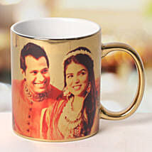 Personalized Ceramic Golden Mug: Send Personalised Gifts to Mirzapur