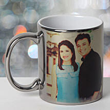 Personalized Ceramic Silver Mug: Send Anniversary Gifts to Haldwani