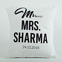 Personalized Cushion Mr N Mrs: Send Valentine Gifts to Amritsar