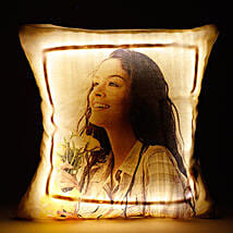 Personalized LED Cushion Yellow: Cakes to Shantipur