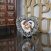 Personalized Silver Heart Photo Frame: Heart Shaped Gifts for Valentines Day