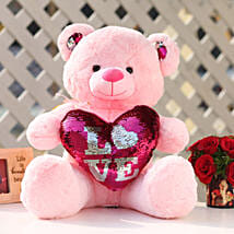 Pink Color Sequin Love Teddy Bear: Soft Toys Gifts