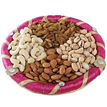 Pink Dry Fruits Round Tray: Send Gourmet Gifts for Her
