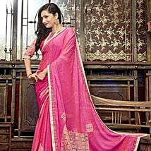 Pink Faux Georgette Saree: