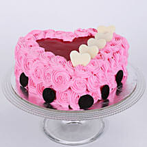 Pink Flower Heart Cake: Send Designer Cakes for Wedding